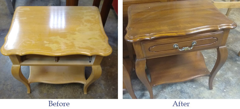 Before After Furniture Refinishing, Ethan Allen Furniture Repair